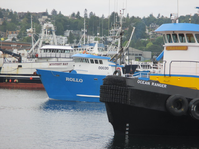 F/V Rollo Seattle Ship Canal To Fishermen's Terminal, Western Towboat Ocean Ranger standing by to stand by for a Ballard Bridge lift - NW Coffee Time at Salty Dog Floating Acres!