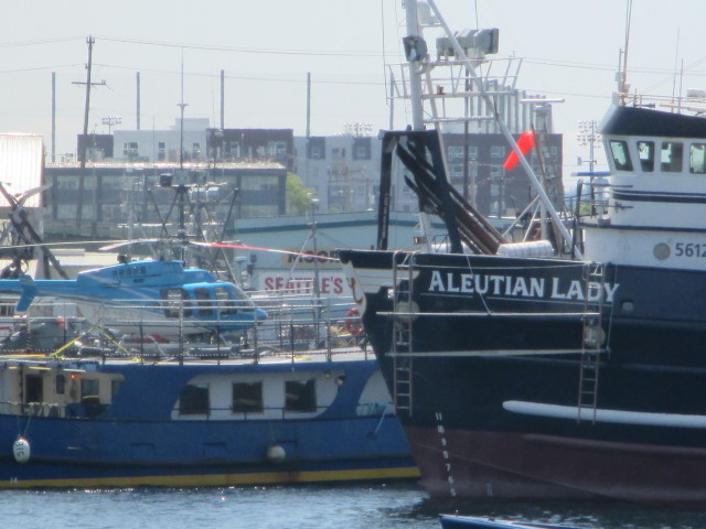 F/V Aleutian Lady Nice New Paint Job & Norseman Scientific Research Vessel Heading Back into Fishermen's Terminal with their fun chopper!