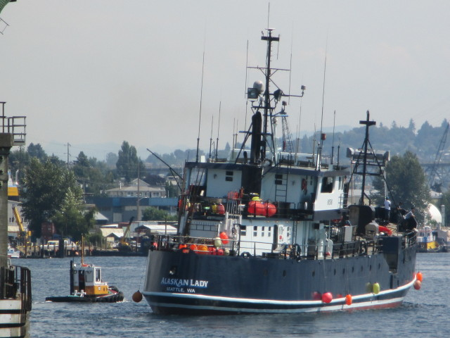 F/V Alaskan Lady, AK Bering Sea Crabber, Seattle Ship Canal, over near Coastal Transportation - Ballard Bridge Lift, HOT AUG. SUMMER AFTERNOON in the PNW!