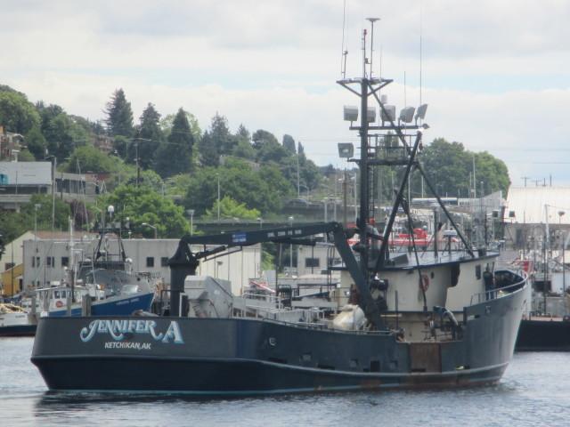 F/V Jennifer A. Alaska Bering Sea Crabber, Dwyer Family Boat, getting ready for summer salmon tendering in AK, Sister boat is F/V Breanna A.