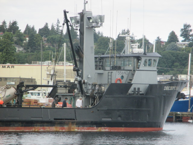 F/V Deception, Departing Seattle destination Salmon Tender Season in AK - she is loaded to the gills - full deck!