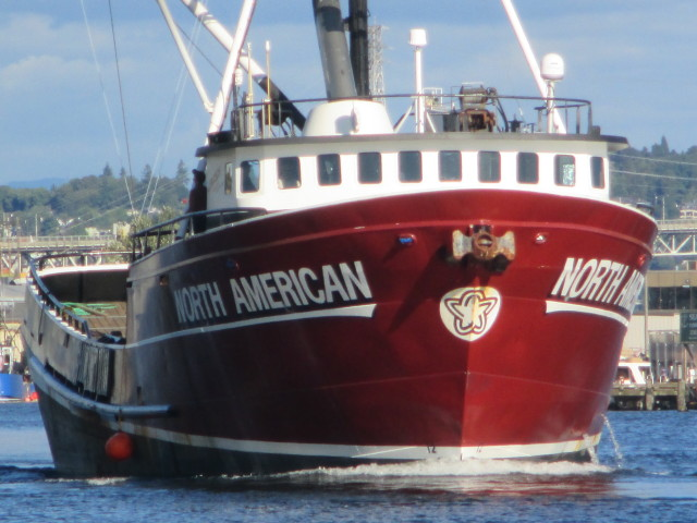 F/V North American, AK Bering Sea Crabber, Ship Canal at Sunset, Coming in HOT under the Ballard Bridge!
