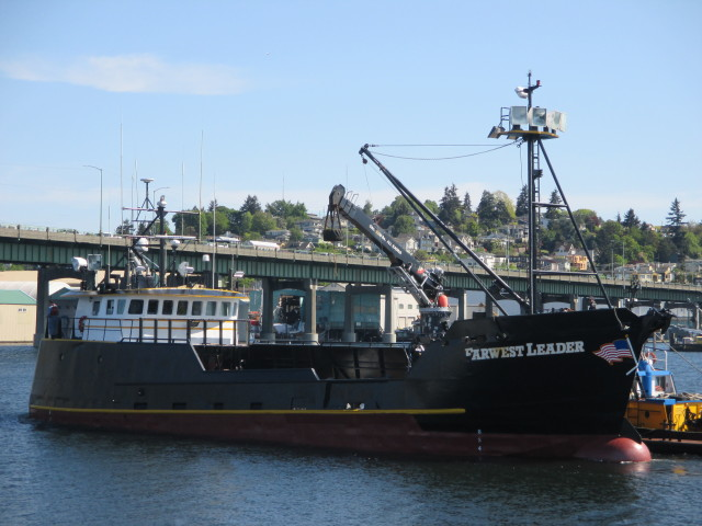 F/V Farwest Leader, Former Deadliest Catch Boat, Western Tow Boat Company Seattle Giving they a side tie ride!