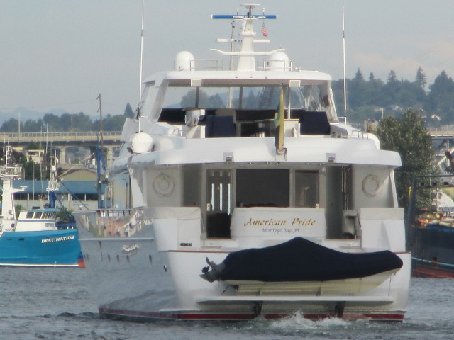 American Pride, Seattle Superyacht - about to pass Trident Old Yard in the Canal - Mega Yachts in the PNW are humbled by our Season AK Fishermen & Alaska Bering Sea Crabbers who call the PNW home!