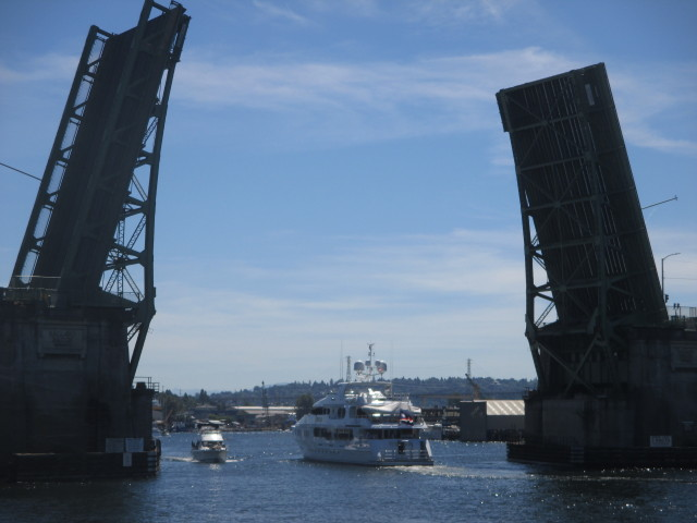 Elisa, PNW Seattle Superyacht, Ballard Locks Bridge Lift - east bound up the Ship Canal - Sunny HOT NW Afternoon!