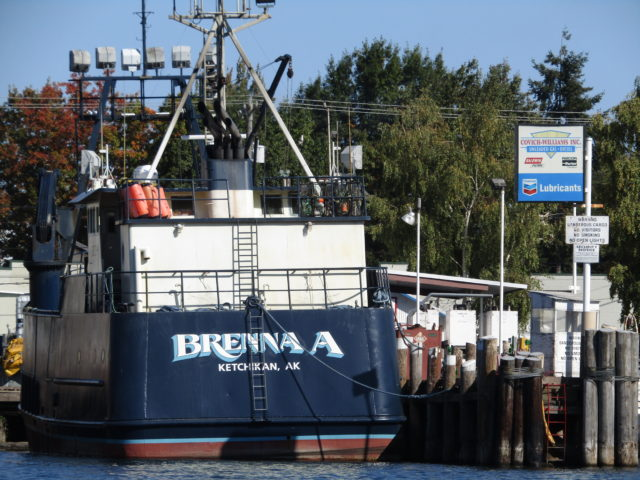 Brenna A. Deadliest Catch Boat, Fueling at Covich Williams in the Ship Canal, leaving for Bering Sea AK, Photography in Skiff Zippy By: Salty Dog Boating News, Salty Sea Chick Marine Traffic Source!