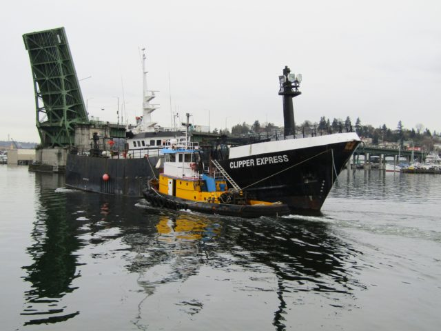 Ballard Bridge Lift, Western Towboat Tug Wasp Assists Clipper Express From Pacific Fishermen Shipyard Eastbound Down The Canal, FILSON Welcome To Ballard! Photography by: Salty Dog Boating News, Salty Sea Chick!
