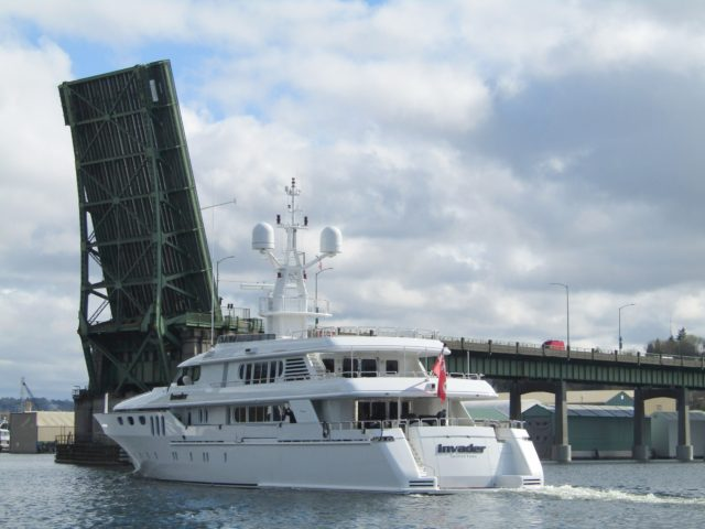 FILSON, Welcome to Ballard, Superyacht INVADER Getting A Ballard Bridge Lift, Photography by: Salty Dog Boating News, Salty Sea Chick Marine Traffic PNW Ship Canal Source!